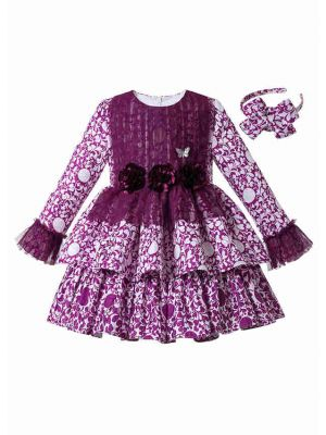 Purple Girls Autumn Flower Print Cotton Boutique Layered Dress + Hand Headband