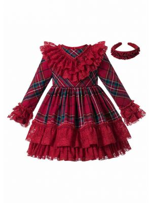 Vintage Autumn Red Christmas Tartan Garment Dyed Lace Boutique Kids Dress + Hand Headband