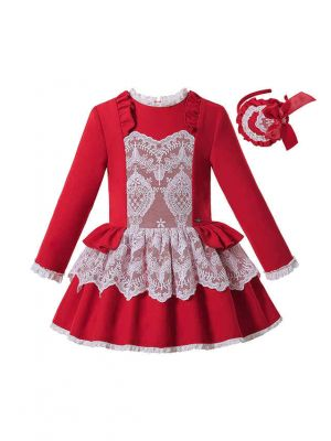Sweet Autumn & Winter White Layered Lace Red Girls Christmas Dress + Headband