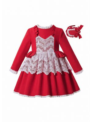 (Pre-order products) 2020 Autumn & Winter Girl Ruffle White Lace Red Christmas Dress with Matching Headband