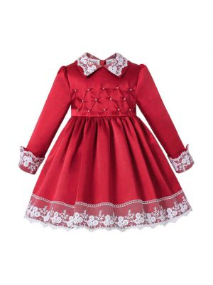 Autumn & Winter Girls Red Lace Pearls Dress