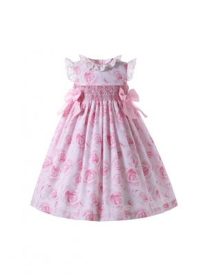 Ruffle Collar Smocked Dress Pink Floral Patterns and Bows