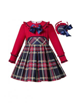 Autumn Girls Preppy Style O-Neck Plaid Red Dress With Bow