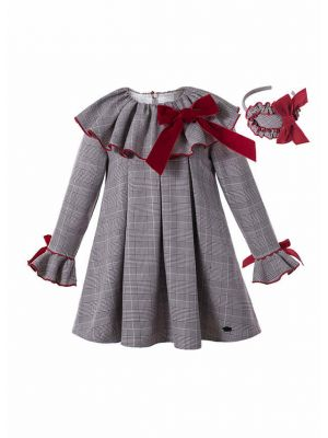 Grey Check Garment Dyed Double-layered Boutique Girls Vintage Dress With Red Bow + Hand Headband