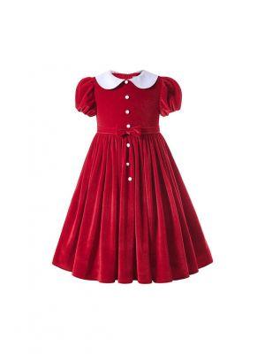 Sweet Red Girls Turn-down Collar Short-Sleeve Dress