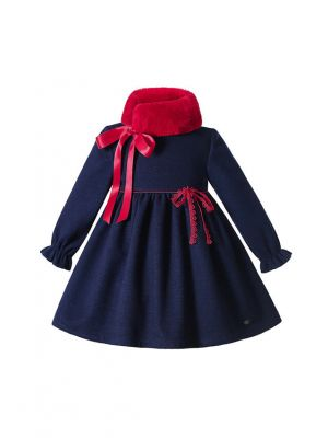 Winter Vintage Girls Christmas Blue dress With Bow