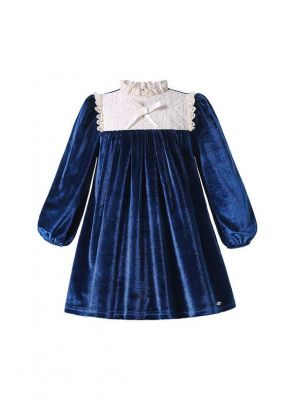 Winter Vintage Girls Blue Straight Dress With Bow