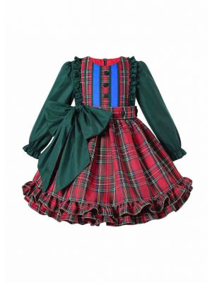 Winter Girls  Ruffle Plaid  Dress with Green Bows