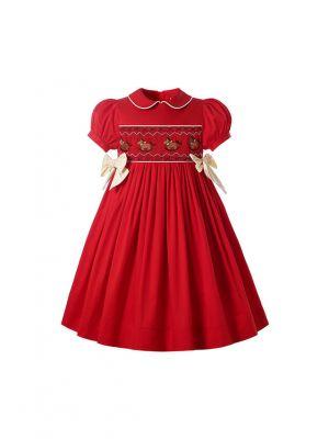 Autumn & Winter Christmas Red Girls Short Sleeve Smocked Dress