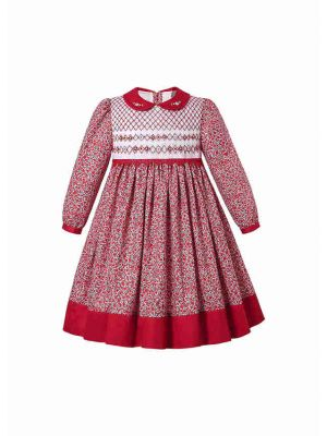 Vintage Red Girl Flower printed handmade Embroidered Smocked Dress