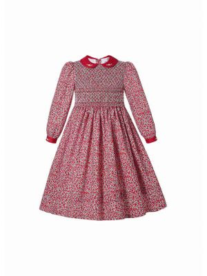 Red Floral Long sleeve Crew Neck with Bow Girl Dress