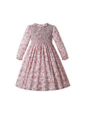 Pink Floral Girls Long Sleeve Smocked Dress
