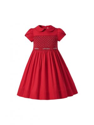 Girl Cute handmade Embroidered Red smocked Dress