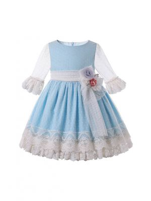 2021 New Spring Sweet Flare Sleeve Blue Dots Girls Ruffle Dress