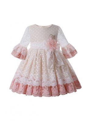 2021 New Spring Sweet Knee-Length Flare Sleeve Light Pink Flower + White Dots Girls Dress