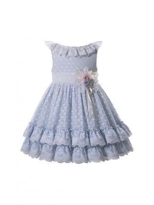 New Summer Cute Double-layered Sleeveless Dots Ruffle Worsted Girls Dress