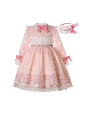 Summer Luxury Lantern Sleeve Lace Bowknots Girls Dress