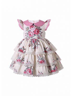 Cream-Color 3-Layers Printed Ruffle Dress