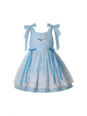 (ONLY 2Y 3Y 12Y) Cute Blue Lattice Lace Bows Sling 2021 New Summer Girls Ruffle Dress