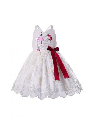 Shoulderless Knee-length Lace Ruffle Girls Dress