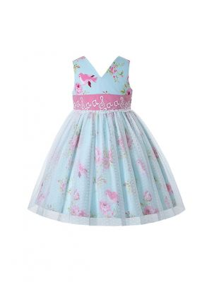 V-neck Green Sleeveless Dress with Pink Flower Bird Note Patterns