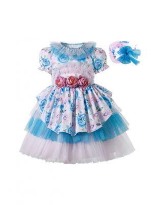 Lantern Sleeve Double-layered Chiffon Pink & Blue Dress + Handmade Headband