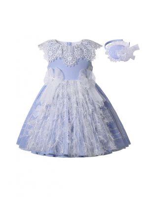 2021 Princess Embroidery Tulle Bows Feather Sleeveless Blue Dress + Handmade Headwear
