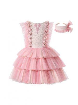 Summer Blush Pink Rose Embroidery Chiffon Three-Layered Dress + Handmade Headband