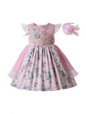 Sundress Girls Printed Lifelike Flower Patterns Ruffle Princess Dress + Handmade Headband
