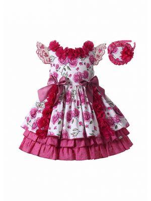 Girls Rose Red Flowers Patterns Ornament Bows Ruffle Hem Dress + Handmade Headband