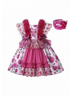 Sundress Rose Red Floral Patterns Lace Bows Ruffle Girls Dress + Handmade Headwear
