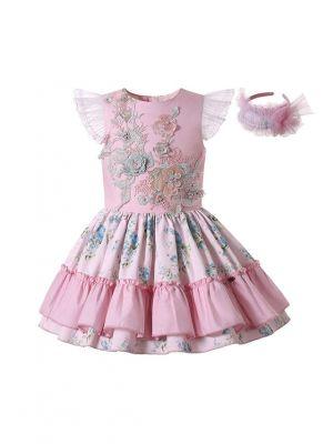 Girls Sundress Crewneck Sleeveless Floral Patterns Pink Dress + Handmade Headband