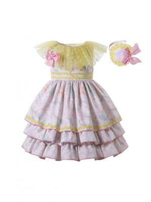 New Arrival Pink Print Double-layered Bows Girls Yellow Dress + Headband