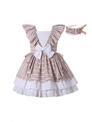 New Design Khaki Striped Lace Hem Dress + Handmade Headband