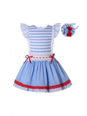 Classic Style Stripes Blue A-line Dress + Handmade Headband