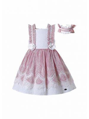 Pink Striped Summer Sleeveless Dress + Handmade Headband