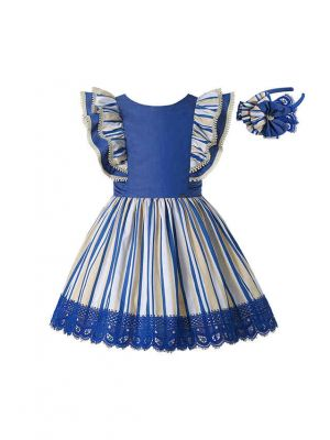 Girls Blue & Cream Striped Summer Dress + Headband (ONLY 10Y)