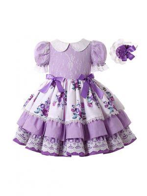 Double-layered Lantern Sleeve Flower Patterns Purple Dress + Handmade Headband