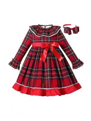 AW21 Girls Plaid Design Red Ruffle Dress + Handmade Headband