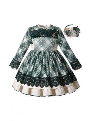 Green Plaid Christmas Ruffle Dress + Handmade Headband