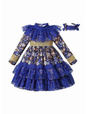 Blue Long Sleeve AW Girls Lace Floral Dress + Handmade Headband