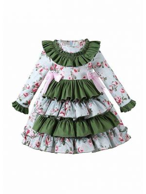 Blue and Green Layered Cake Dress with Printed Flower