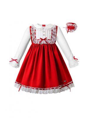 Red Christmas Ruffle Ribbon Lace Dress with Handmade Headband