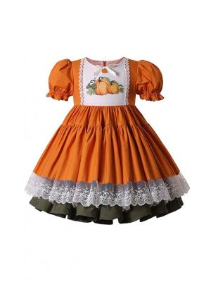 (PRE-ORDER)Halloween & Thanksgiving Pumpkin Pattern Orange Dress