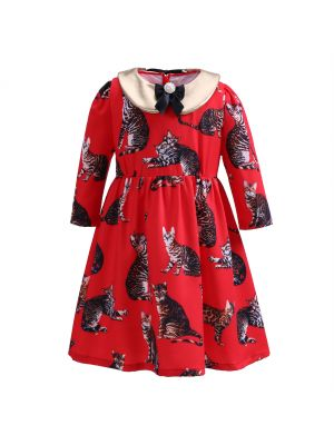 Red Floral Girls Dress