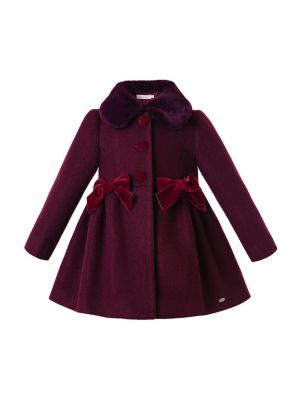 Fall Velvet Wine Red Winter Girls Coats With Bows Faux-Fur Collar Single Breasted  Clothing