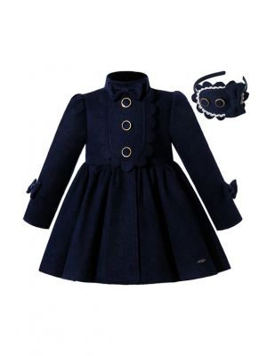 Autumn & Winter Girls Dark Blue Single Breasted Wool Coat + Hand Headband