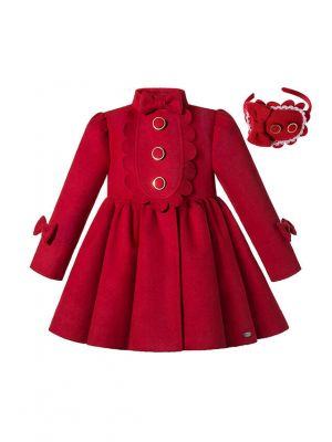 (Pre Order)Autumn & Winter Girls Red Single Breasted Wool Coat + Handmade Headband
