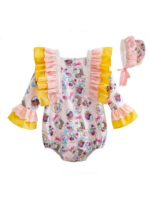 Easter Bunny Yellow Baby Romper