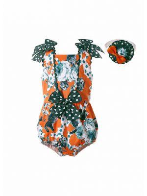 Cute Flower Printing Orange Baby Romper Set + Handmade Headband